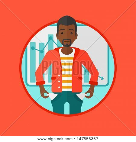 An african-american businessman showing his epmty pockets on the background of decreasing chart. Concept of business bankruptcy. Vector flat design illustration in the circle isolated on background.