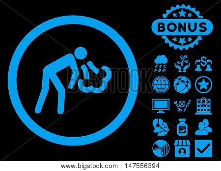 Cough icon with bonus pictures. Vector illustration style is flat iconic symbols, blue color, black background.