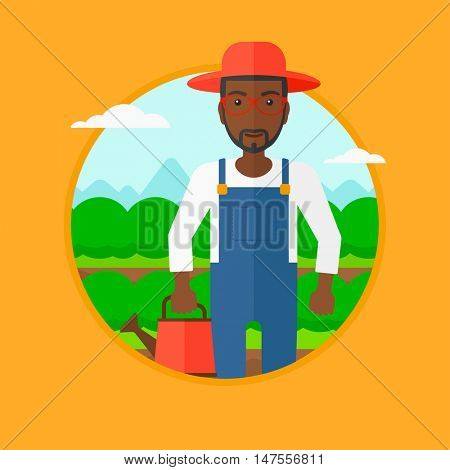 An african-american farmer holding a watering can on the background of agricultural field with green bushes. Man watering cabbage. Vector flat design illustration in the circle isolated on background.