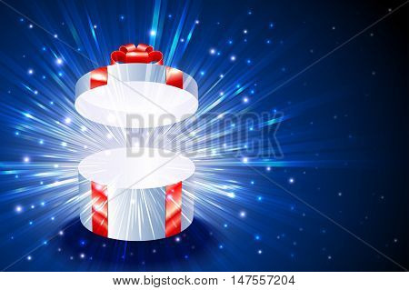 Open gift box with shining exploding firework from glitter for decoration of theme of Christmas New Year and Birthday; Vector Background Eps10