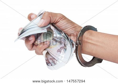 Slave Human Trafficking concept hand  in cuff hold money