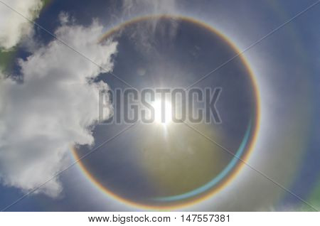 Sun with circular rainbow sun halo occurring due to ice crystals in atmosphere in thai poster