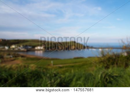 View Over Bude In Cornwall From The Costal Path Out Of Focus.
