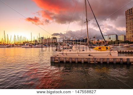 Skyline at twilight of Ala Wai Harbor the largest yacht harbor of Hawaii. Honolulu Oahu in Hawaii United States.