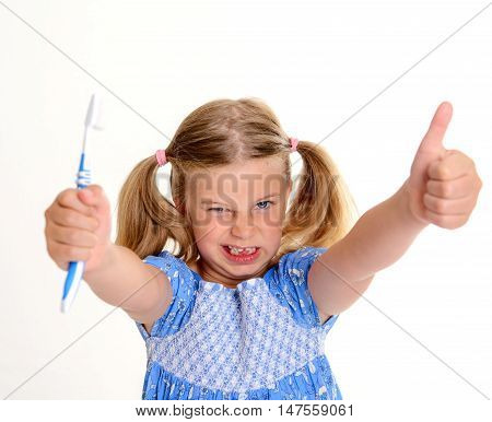 Funny Girl With Space Width Thumb Up And Toothbrush
