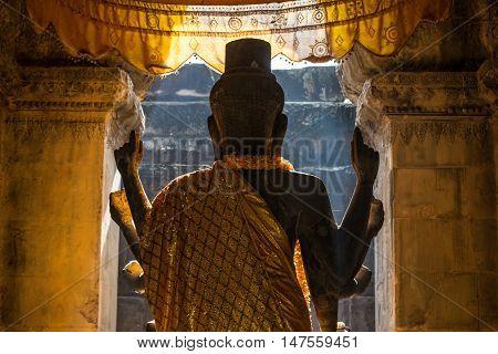 The Vishnu god statue in Angkor wat, Seam Reap, Cambodia.
