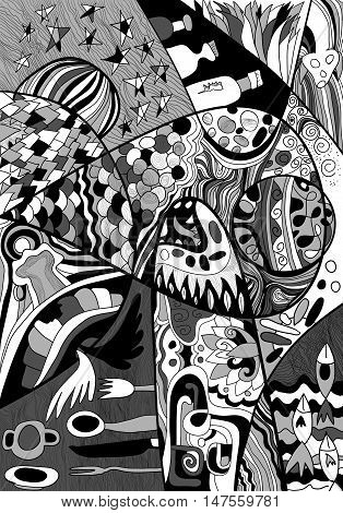 Black And White Abstract Line Art With Doodle And Zentagle Style