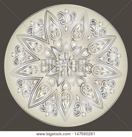 Drawing of a floral mandala with  gradient in light and dark silver colors on a gray background. Hand drawn tribal  vector stock illustration