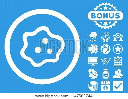 Amoeba icon with bonus images. Vector illustration style is flat iconic symbols, white color, blue background.