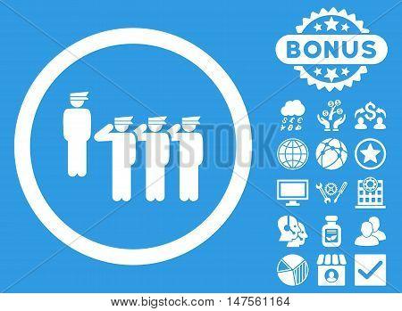 Army Squad icon with bonus elements. Vector illustration style is flat iconic symbols, white color, blue background.