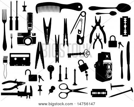 Various home accessories illustrations