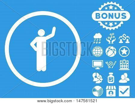 Assurance icon with bonus images. Vector illustration style is flat iconic symbols, white color, blue background.