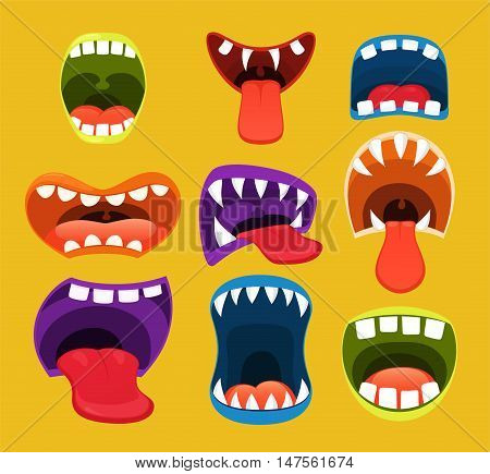 Monster mouths. Funny facial expression open mouth with tongue.