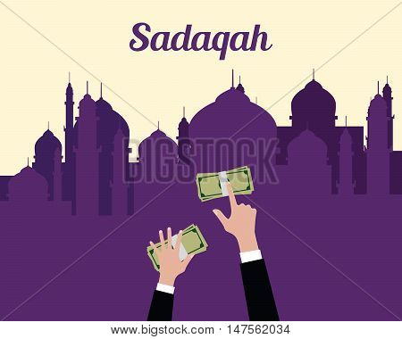 sadaqah concept moslem islam give money with hand view from top with mosque background vector