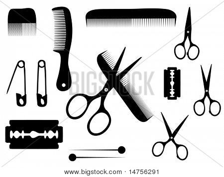 barber or hairdresser accessories poster
