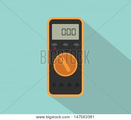 multimeter digital tools voltage with flat color and long shadow vector poster