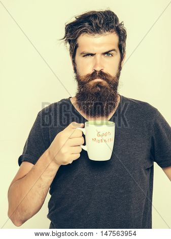handsome bearded man with stylish hair beard and mustache on serious face in shirt holding white cup or mug with good morning text drinking tea or coffee in studio on light background