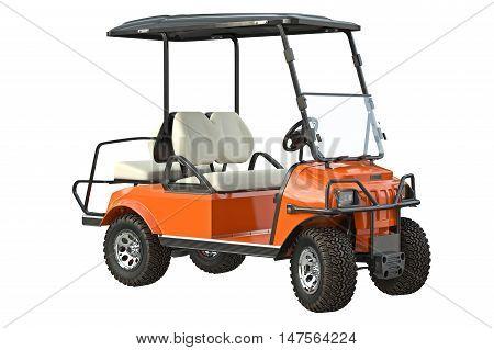 Golf car transport golfing equipment. 3D graphic