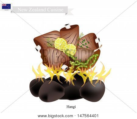 New Zealand Cuisine Illustration of Hangi or Traditional Maori Food Made of Meat and Vegetables Cooked in Earth Oven Using Hot Rocks and Steam. The Native Dish of New Zealand.
