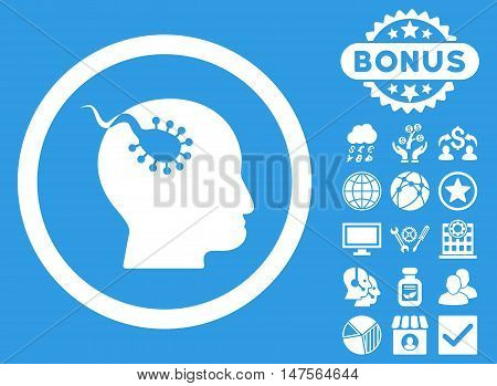 Brain Parasite icon with bonus pictures. Vector illustration style is flat iconic symbols, white color, blue background.