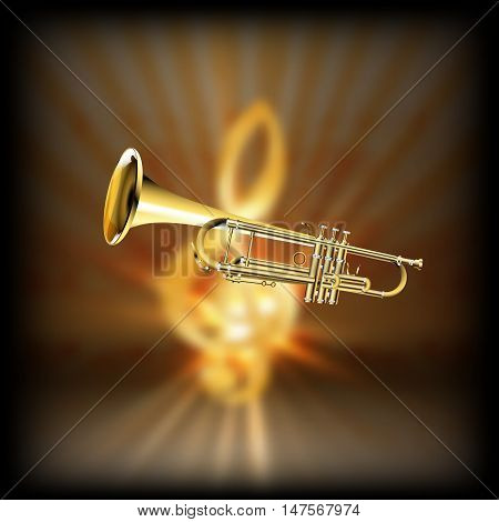 Trumpet on a blurred background of golden treble clef with flash. Achieved with a black background can be used with any image or text.