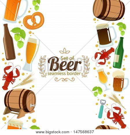 Vertical seamless borders of colorful beer icons. Vector stock illustration.