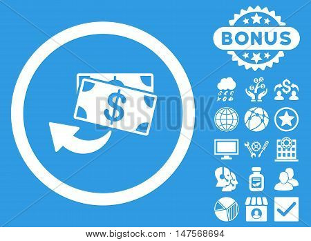 Cashback icon with bonus images. Vector illustration style is flat iconic symbols, white color, blue background.