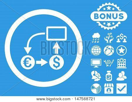 Cashflow Euro Exchange icon with bonus pictogram. Vector illustration style is flat iconic symbols, white color, blue background.