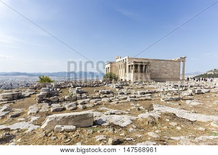 background image of Caryatides, Erechtheion temple Acropolis, Athens, Greece
