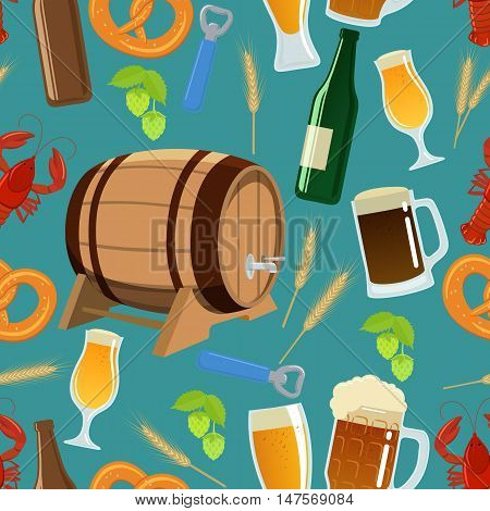 Seamless pattern of beer icons. Vector stock illustration.