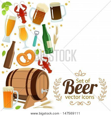 Side vertical border with colorful beer icons. Template for packaging cards posters menu. Vector stock illustration.
