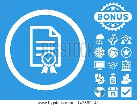 Certified icon with bonus pictures. Vector illustration style is flat iconic symbols, white color, blue background.