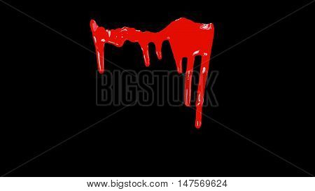 Blood Dripping Down Over Transparent Background with Alpha Channel. Easy use in motion design 4K