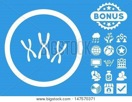 Chromosomes icon with bonus symbols. Vector illustration style is flat iconic symbols, white color, blue background.