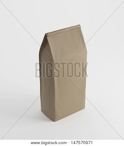 Beige Lunch Paper Bag On White Surface