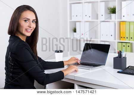 Office Employee With Long Dark Hair