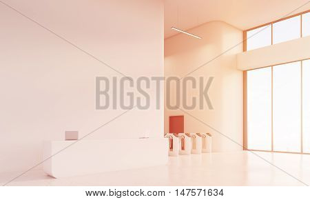Large window. Sunlit reception counter. Turnstiles around the corner. Concept of marketing company office. 3d rendering mock up toned image