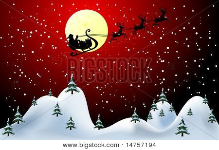 Santa Claus merry Christmas card vector illustration