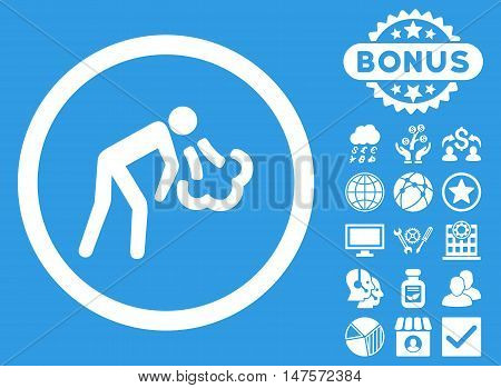 Cough icon with bonus design elements. Vector illustration style is flat iconic symbols, white color, blue background.
