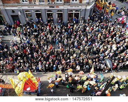 London, Uk - 14 February 2016: Crowd For For Chinese New Year 2016