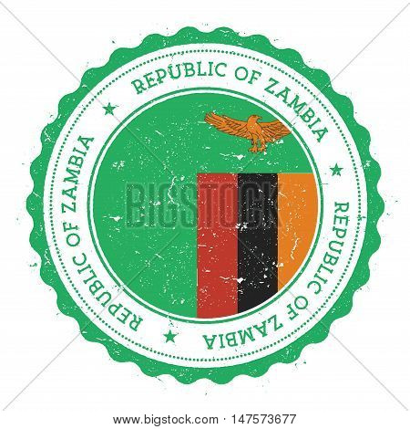 Grunge Rubber Stamp With Zambia Flag. Vintage Travel Stamp With Circular Text, Stars And National Fl