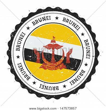 Grunge rubber stamp with Brunei Darussalam flag. Vintage travel stamp with circular text stars and national flag inside it. Vector illustration. poster