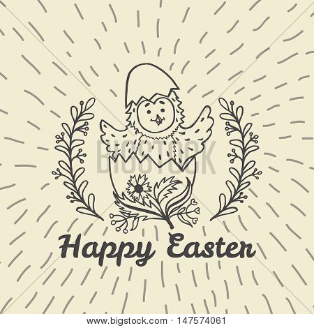 Happy Easter card with chick and egg. Vector illustration of Easter ornamental card with chick on beige background.