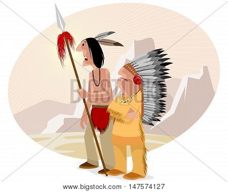 Vector illustration of a indian and chief