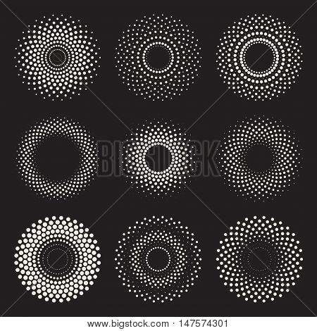 Vector Radial Gradient Halftone Sunburst Circle Shape Stippling Design Elements. Abstract Geometric Background Design