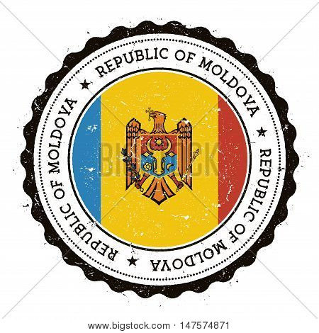 Grunge rubber stamp with Moldova Republic of flag. Vintage travel stamp with circular text stars and national flag inside it. Vector illustration. poster