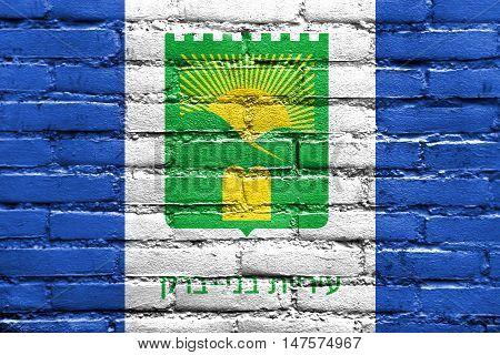 Flag Of Bnei Brak, Israel, Painted On Brick Wall