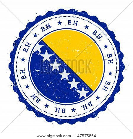 Grunge Rubber Stamp With Bosnia And Herzegovina Flag. Vintage Travel Stamp With Circular Text, Stars