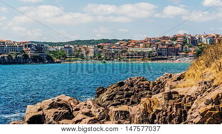Overall view of Sozopol, one of the oldest Bulgarian towns founded in the 7th century BC, nowadays  one of the major seaside resorts in the country.