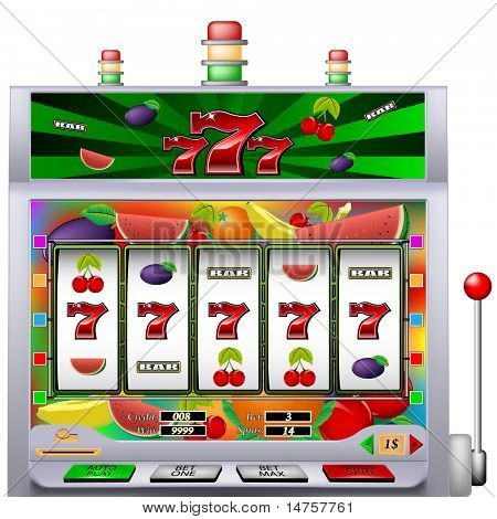 casino slot machine with colorful background vector illustration poster